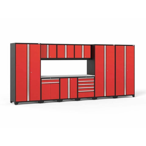 NewAge Products Garage Cabinets Red / Stainless Steel NewAge Products PRO SERIES 3.0 10 Piece Cabinet Set 52151