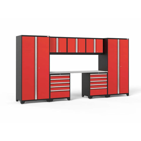 NewAge Products Garage Cabinets Red / Stainless Steel NewAge Products PRO SERIES 3.0 8 Piece Cabinet Set 52090 52291