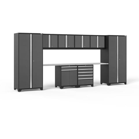 NewAge Products Garage Cabinets Stainless Steel NewAge Products PRO SERIES 3.0 Gray 10 Piece Cabinet Set 52098 52099