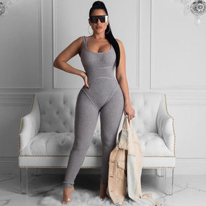 Knit Rib Bodycon Jumpsuit - 29Collections