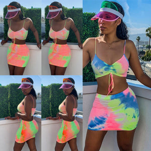Tie dye Bodycon Crop Top and Skirt Set - 29Collections