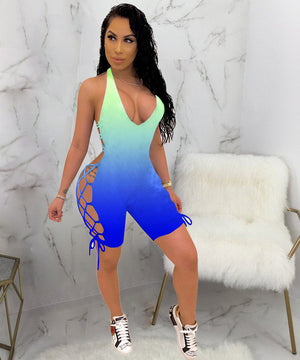 Color Deep V Neck Sleeveless Backless Romper Side - 29Collections