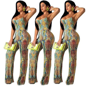 Snake Print Spaghetti Straps Jumpsuit - 29Collections
