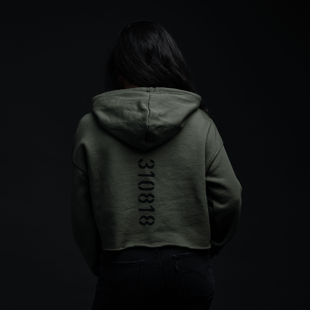 KAMIKAZE GREEN CROPPED HOODIE