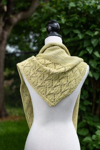 Sideways Triangle Shawl with Lace Edging modelled on a Manniquin