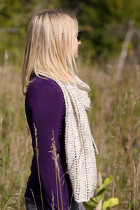 garter and lace scarf in DK yarn
