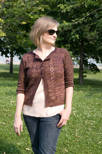 handknit cardigan from knitting pattern being modelled