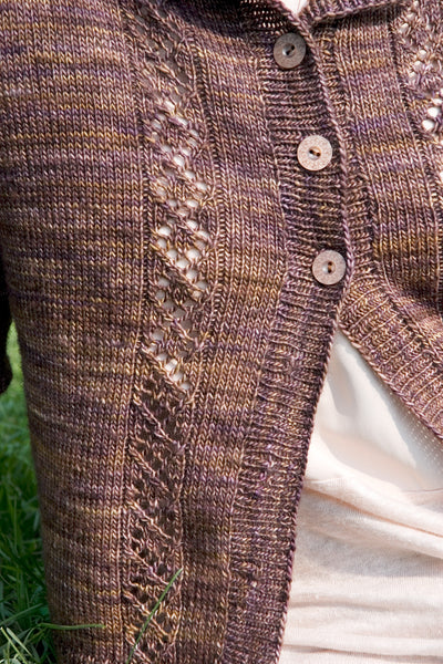 details on a hand knit sweater from pattern