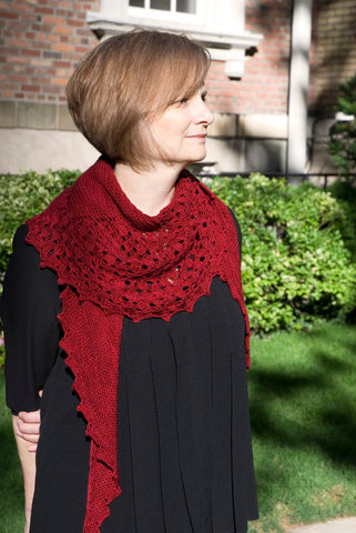 Crescent knit shawl