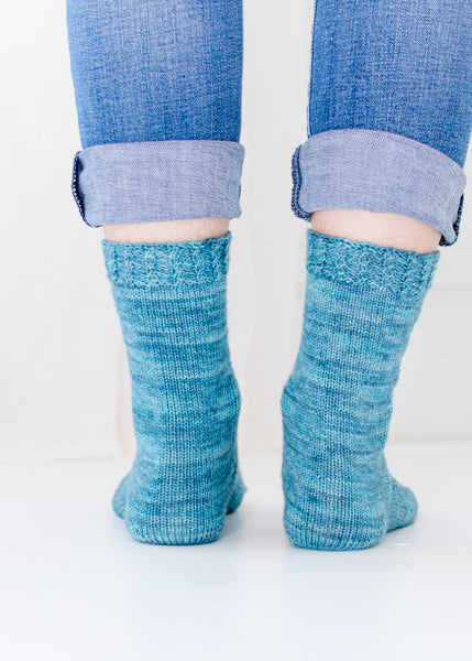 back view of handknit socks