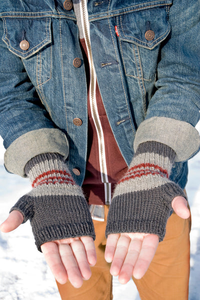 close up of handknit fingerless mitts