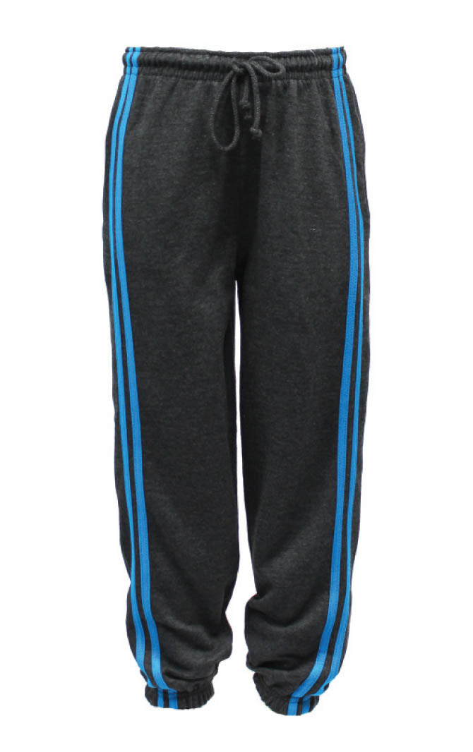 Fleece Factory B502 Charcoal Sweat Pant with Turquoise stripe