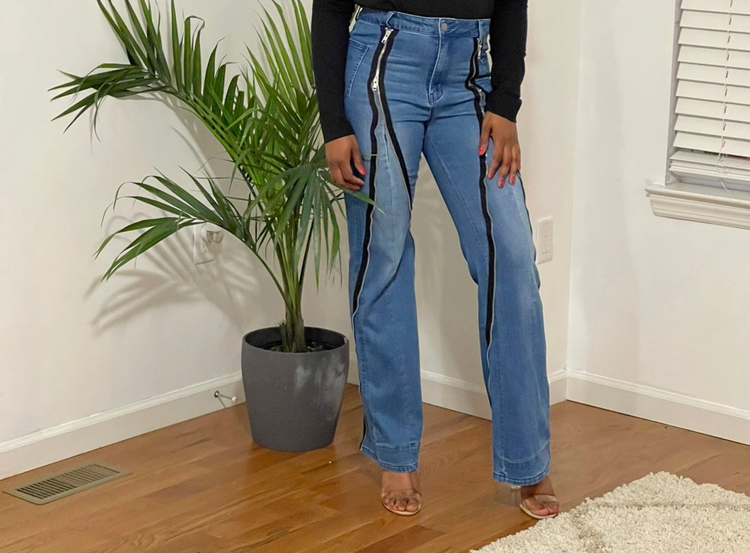 Zippered Me Up Flare Jeans