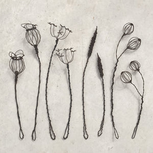 Wire Sprig - Small Poppy Head
