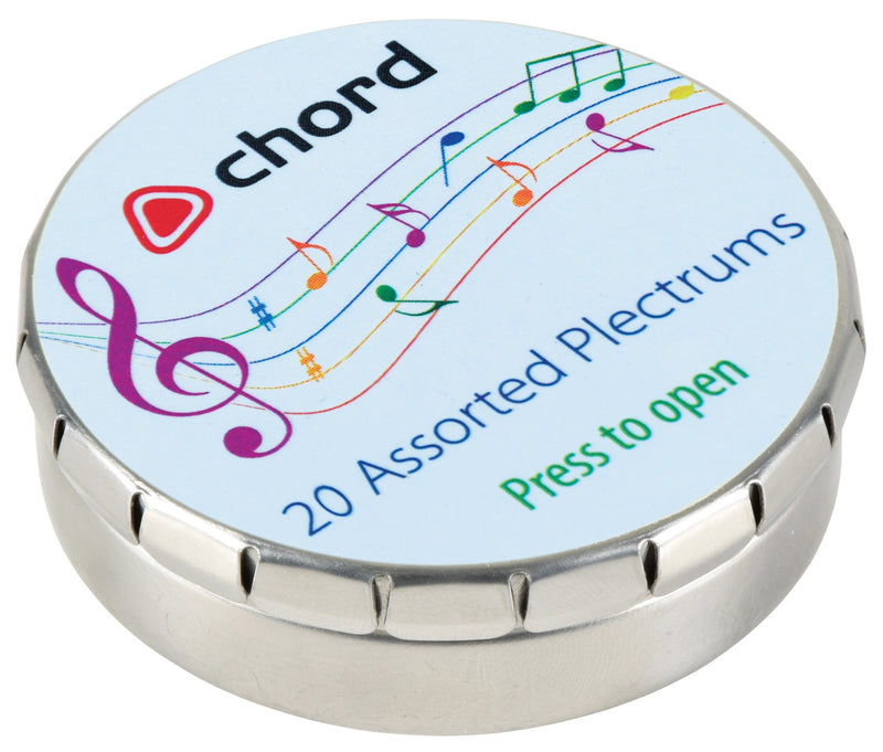 20 Chord Assorted Plectrums In A Tin