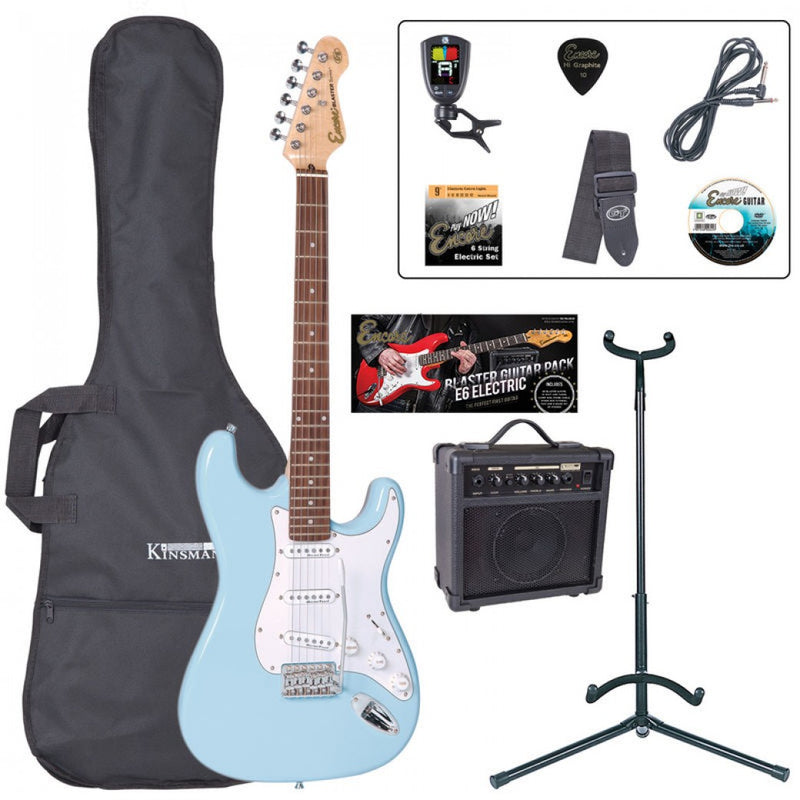 Encore Electric Guitar Package, Laguna Blue