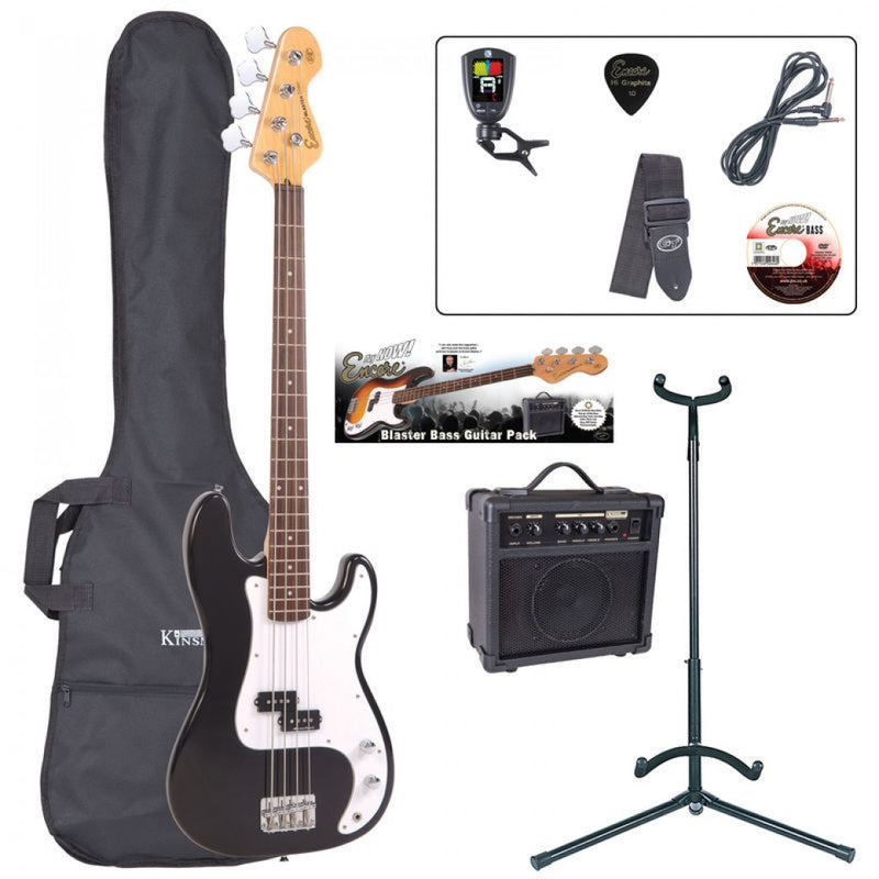 Encore Bass Guitar Package, Black