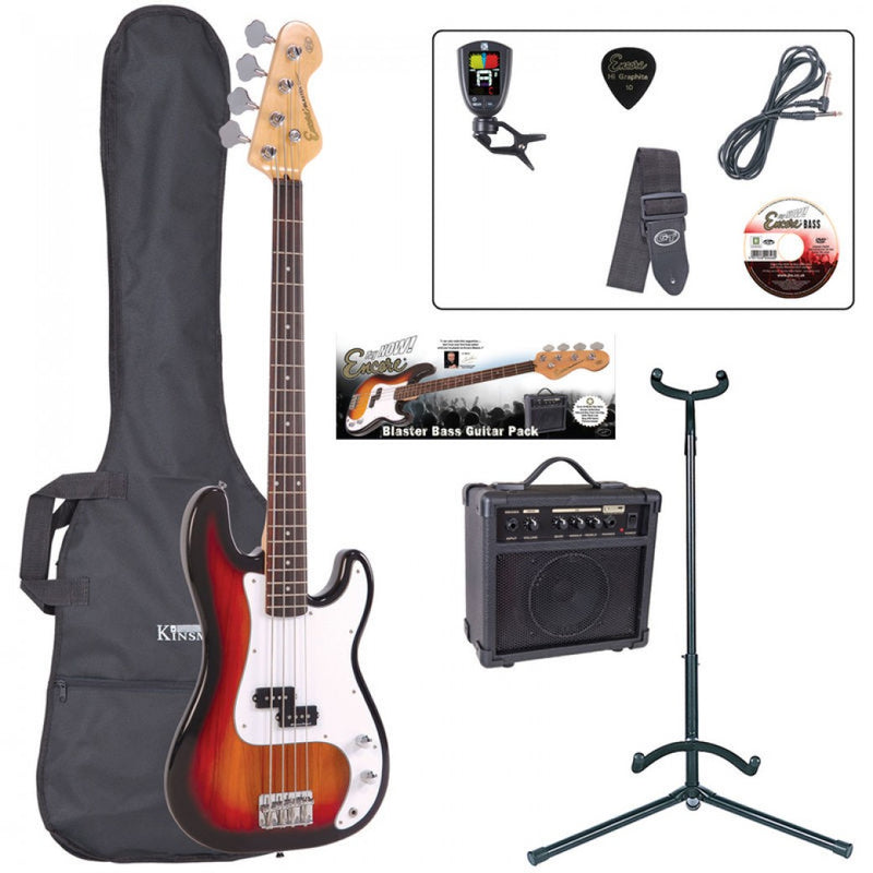 Encore Bass Guitar Package, Sunburst