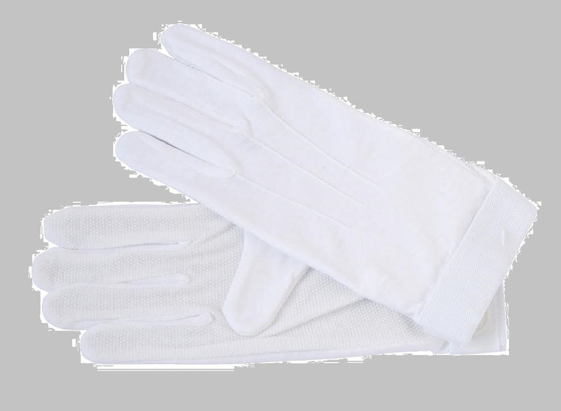 White Cotton Beaded Drummers Gloves