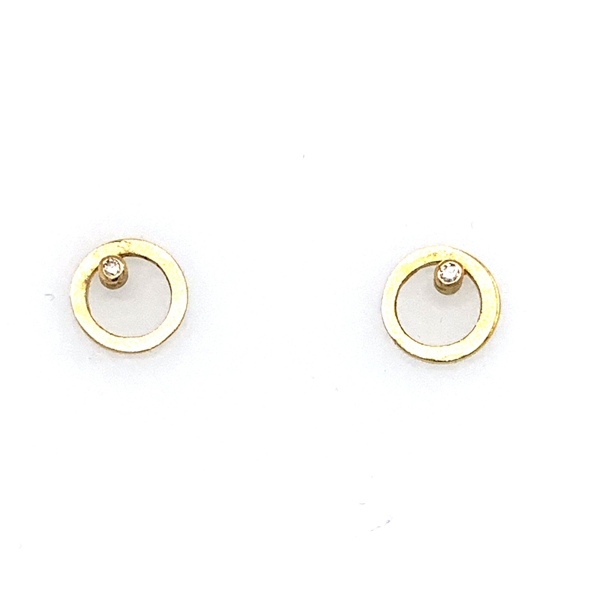 Ohrstecker Gold 750 Ø 8mm Brillanten zus. 0.03 ct TW/SI - O204