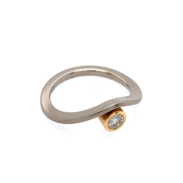 Ring Weißgold Roségold 750 Brillant 0.2 ct - R109