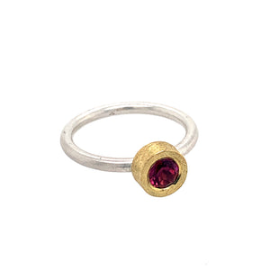 Ring Silber 925 Gold 750 Turmalin facettiert 0.5 ct - R11