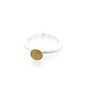 Ring Silber 925 Gold 900 Brillant 1.6 mm - R122