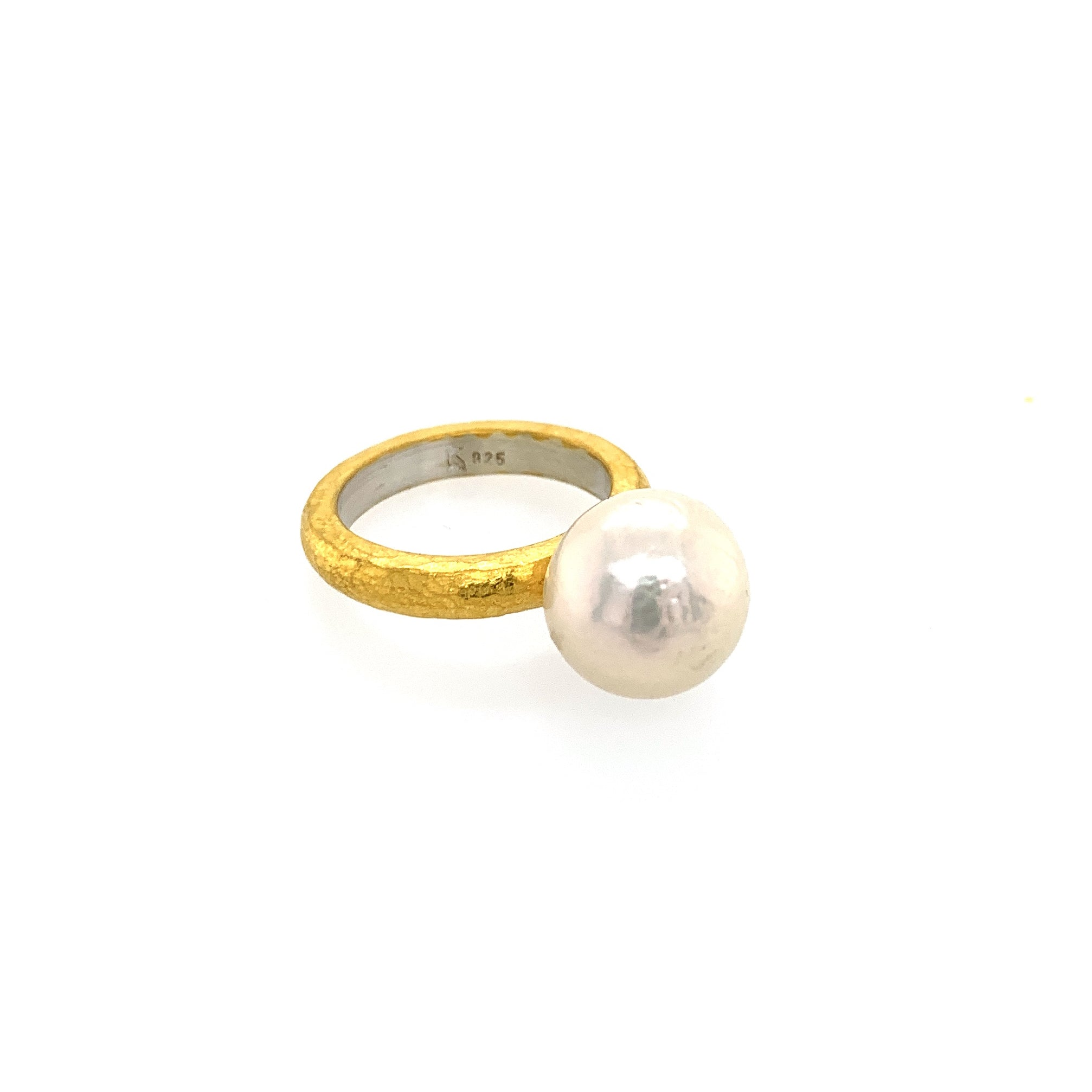 Ring Silber 925 Gold 999 Perle Ø10mm - R145
