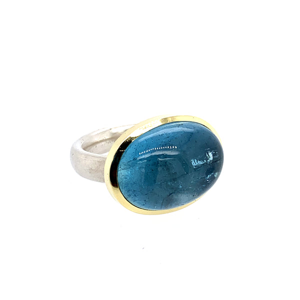 Ring Silber 925 Gold 750 Aquamarin Cabochon 60 ct - R51