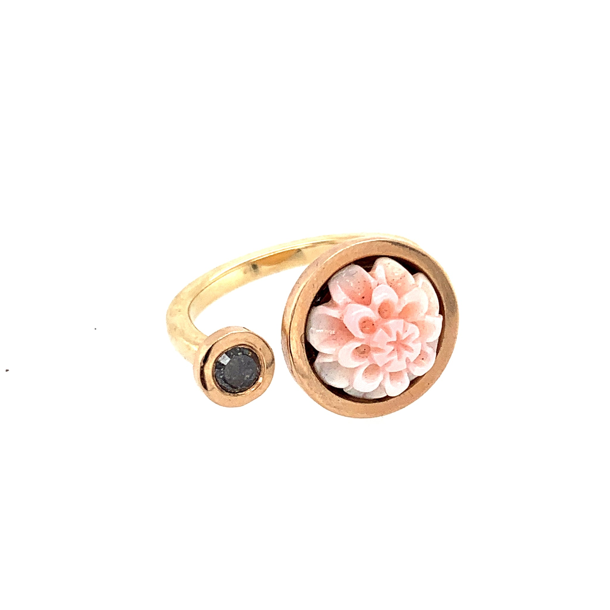 Ring Roségold 585 Congemuschel Diamantrose 0.14 ct - R66