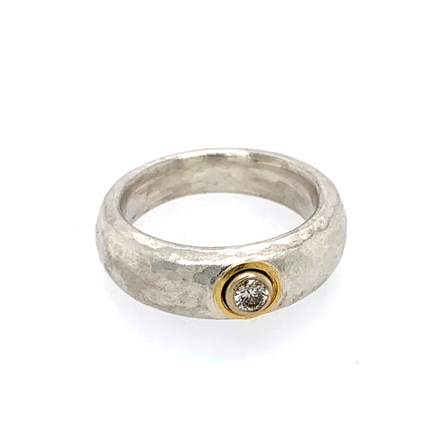 Ring Silber 925 Gold 900 Brillant 0.1 ct - R6