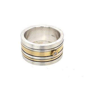 Ring Silber 925 Gold 750 Brillant 0.03 ct - R72