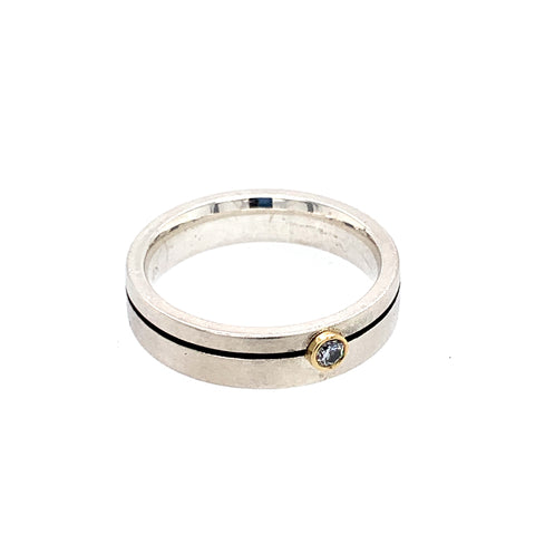 Ring Silber 925 Gold 750 Brillant 0.03 ct - R73