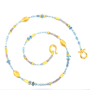 Collier Aquamarin Perle 3 mm Silber vergoldet 999 - S147