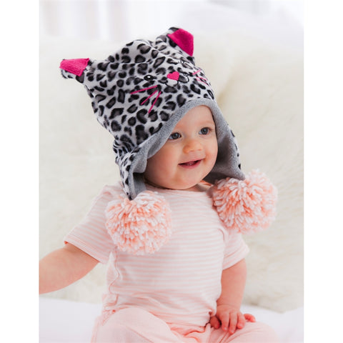 B. Boutique Elephant & Kitten Leopard Reversible Fleece Hat