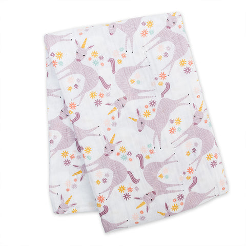 Lulujo Cotton Muslin Swaddle - Modern Unicorn
