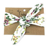 Baby Wisp Top Knot White Floral Print Headband