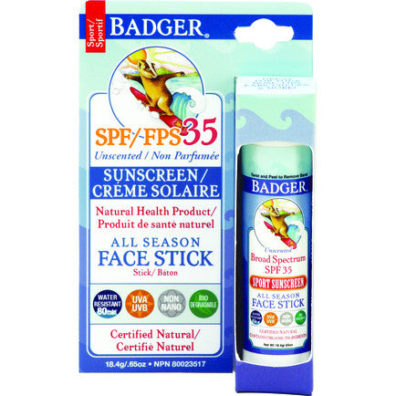 Badger SPF 35 All Season Face Stick - Unscented