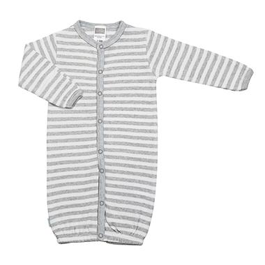 Kushies Convertible Classic Nightgown - Heather Grey Stripe