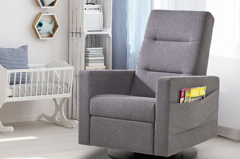 Dutailier Kallia Swivel Glider Recliner Heather Grey