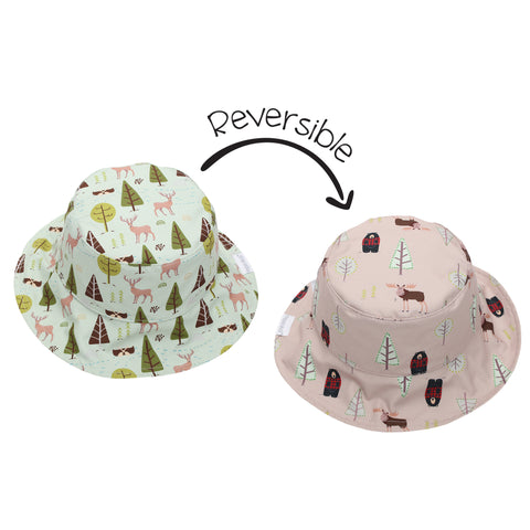 FLAPJACKKIDS REVERSIBLE SUN HAT - Moose/Cottage 0-6mts