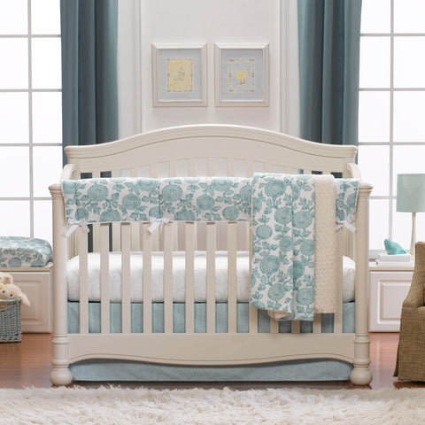 Liz and Roo Aqua Blossom Crib Rail Cover