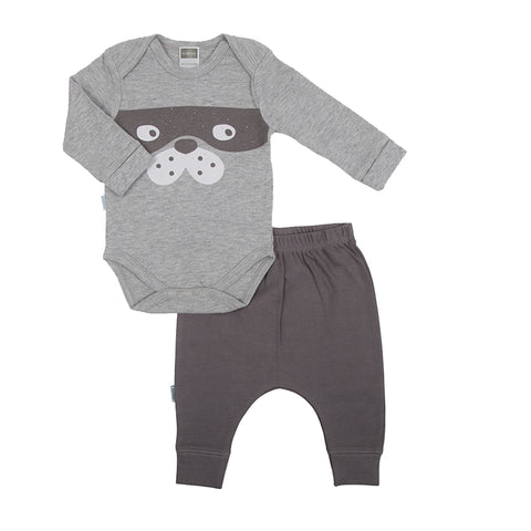 Kushies Hello World Long Sleeved Body Suit + Harem Pants - Heather Grey