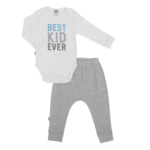 Kushies Hello World Long Sleeved Body Suit + Harem Pants - White/Grey