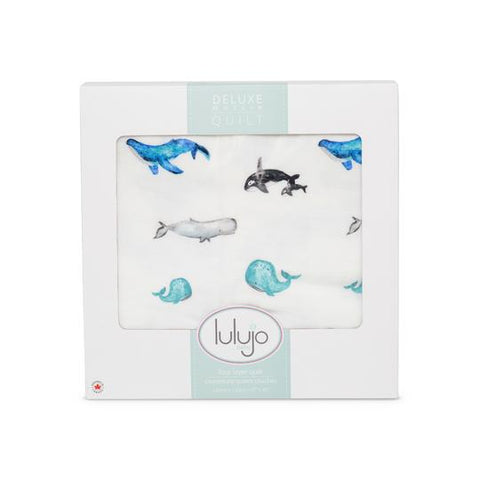 Lulujo Deluxe Muslin Quilt - Whales