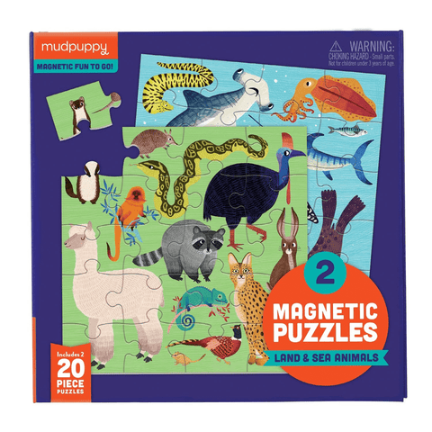 Mudpuppy Land & Sea Animals Magnetic Puzzle