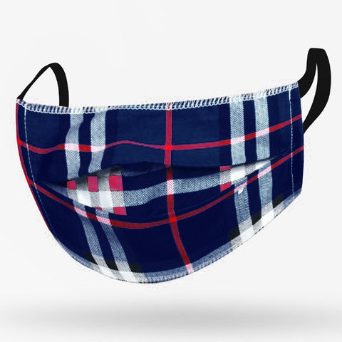 Kushies Adult Washable Face Mask - Navy Plaid