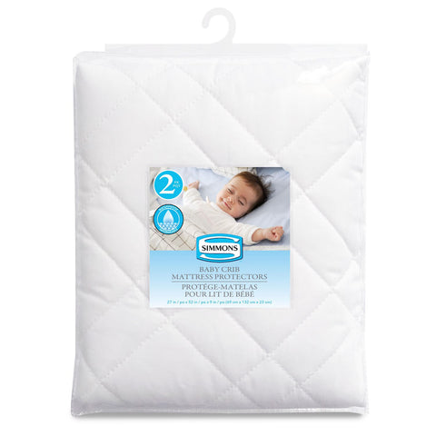 Simmons Quilted Polyester Baby Crib Mattress Protector - 2pk