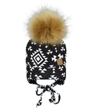 Perlimpinpin Tuque with Ears and Pompom - Aztec Black/White