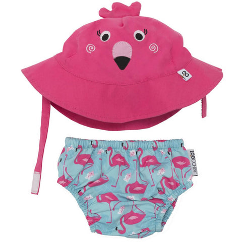 Zoocchini Swim Diaper & Hat Set - Flamingo